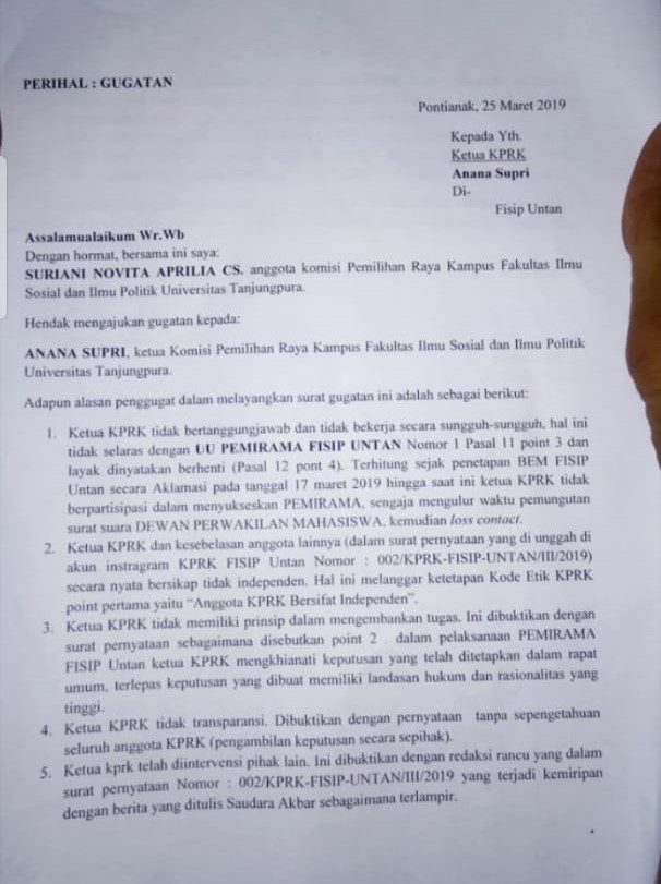Surat Gugatan 13 Anggota Kprk Untuk Ketuanya Mimbar Untan